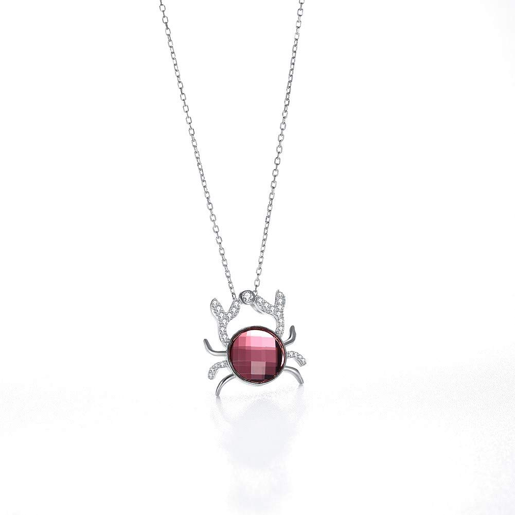 myazs8580 LEKANI Crystals from Swarovski S925 Pure Silver Animal Crab Personality Pendant Necklace