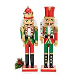 Set of 2 Christmas 15'' Tall Wood Nutcracker Soldiers with Glitter Accents