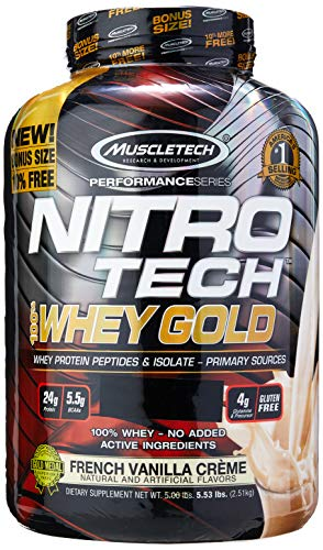 MuscleTech NitroTech Whey Gold, 100 Whey Protein Powder, Whey Isolate and Whey Peptides, Vanilla, 88.4 Oz