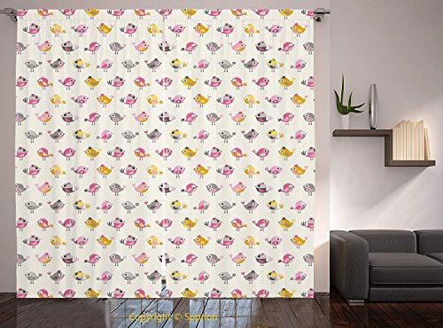 - Living Room Bedroom Window Drapes/Rod Pocket Curtain Panel Satin Curtains/2 Curtain Panels/84 x 84 Inch/Baby,Cartoon Style Birds with Fancy Funny Animals with Accessories Top Hat Flowers,Pink Grey Mar