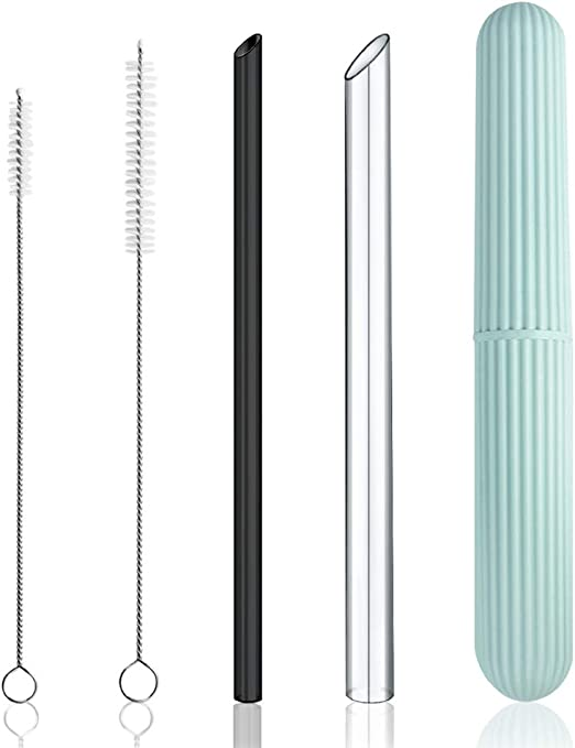Reusable Drinking Straws 4 XL BOBA Bamboo Straws for Bubble Tea /& Smoothie