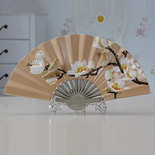 Hexiansheng Folding Fan Fan Three-Dimensional Relief Decoration Home Decoration Ornaments Hand-Painted Ceramic Art ()