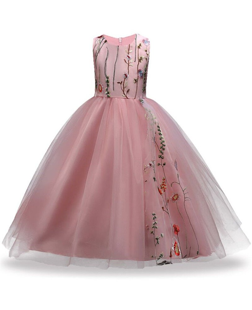 2d2be3eb84275 Princess Dress for Girls 10T Size 8-10 Children Lace Blush Pink Floor  Length Christmas Casual Girl Dresses Size 12-14 Big Girls Formal A Line 11  13 ...