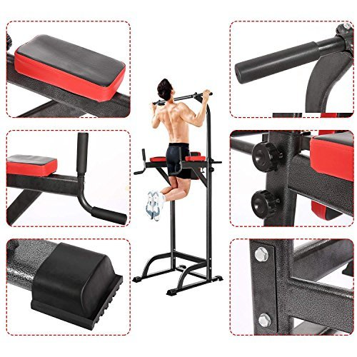 cheesea Body Fitness Power Tower,Olympic Station Standing Pull Up/Push-Up/ Knee Exercise for Indoor Home Gym