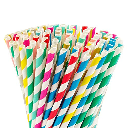 Anphsin 250 PCS Biodegradable Paper Straws - Stripe Paper Drinking Straw Bulk for Birthdays, Wedding, Baby Showers, Parties and Festivals (Iced Cookies Wedding)