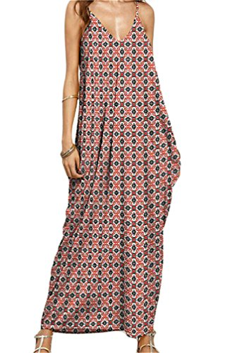 Womens Yellow Shift Spaghetti Maxi Dress Beach Printed Boho Strap Cami Domple Soil Slip BxOwq1O