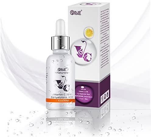 Vitamin C Serum for Face 25% Anti Aging Serum Face Serum With Hyaluronic Acid - Facial Serum with Vitamin E for Wrinkles, Moisturizing, Firming and Skin Tone