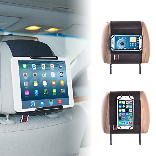 TFY Car Headrest Mount Holder for Tablets and Mobile Phones - iPhone Xs/Max iPhone XR iPad 2/3 / 4 - iPad Mini - iPad Air - Samsung Tablet - iPhone X / 8/8 Plus / 6 6s Plus / 7/7 Plus - Huawei Ma