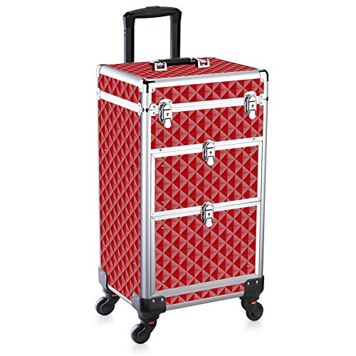 Makeup Beauty Train case Professional Artist Rolling Cosmetic Organizer with Switching Lid and Universal Wheels (13.38