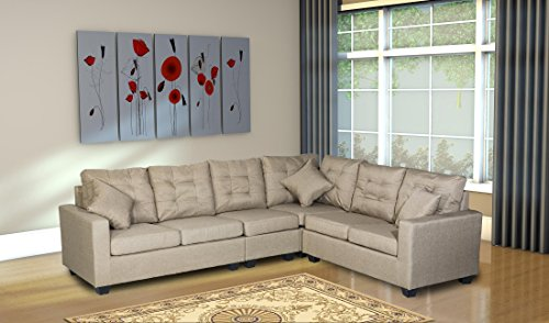 Oliver Smith – Large Beige Linen Cloth Modern Contemporary Upholstered Quality Sectional Left or Right Adjustable Sectional 103″ x 81″ x 35″ s287beige