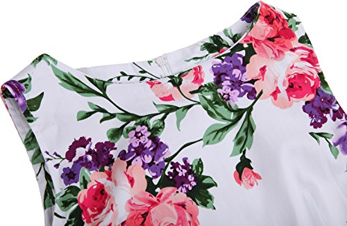 U-shot - Vestido - trapecio - Sin mangas - para mujer Floral Rojo