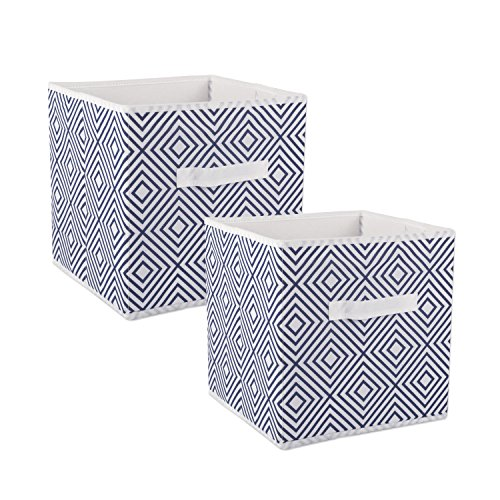 DII Foldable Fabric Storage Containers for Nurseries, Offices, Closets, Home Décor, Cube Organizers & Everyday Use, 11 x 11 x 11, Nautical Blue Diamond - Set of 2, Small