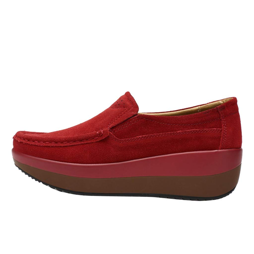 LATINDAY ◕‿◕ Women's Stylish Color Block Square Toe Thick Sole Platform Slip On Loafer Shoes Red by LATINDAY ➜ Shoes Accessory