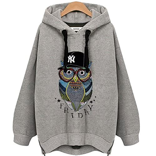 low-cost King Ma Womens Printing Owl Winter Warm Plus size Pullover Hoodie  Sweatshirt 0690485abe