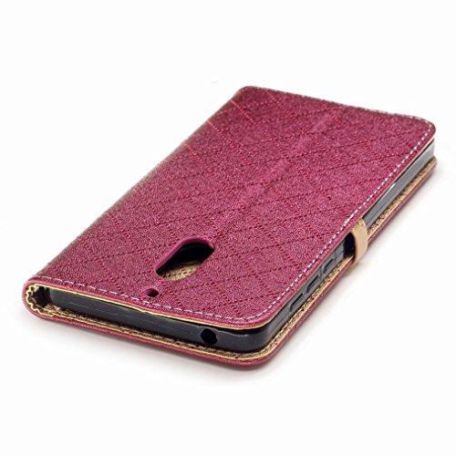 Yiizy Nokia 6 Custodia Cover, Amare Design Sottile Flip Portafoglio PU Pelle Cuoio Copertura Shell Case Slot Schede Cavalletto Stile Libro Bumper Protettivo Borsa (Rosso)