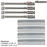 Hisencn Repair Kit Stainless Steel Burners, Stainless Heat Plates Replacement Parts for Master Forge 1010037, 1010048 Gas Grill Models