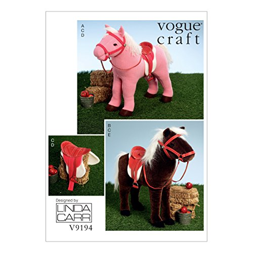 Horse Sewing Patterns - Vogue Patterns V9194OSZ Plush Doll Horses with Saddle, Bridle and Blanket Sewing Pattern, One Size, Green