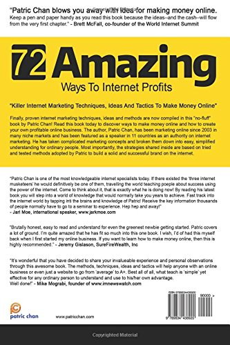 The 72 Amazing Ways To Internet Profits: Mr Patric Chan: 9789834438920:  Amazon.com: Books
