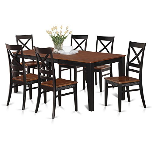 East West Furniture QUIN7-BLK-W 7-Piece Dining Table Set, Bl