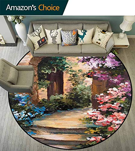 - Flower Round Rug Girls Bedroom,Brushstrokes Red Poppies and White Marguerites on a Summer Meadow Image Protection and Cushion for Floors,Violet Coral and Blue,D-67