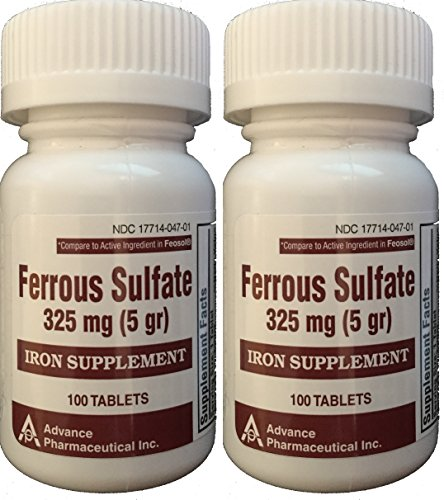 Ferrous Sulfate Iron Supplement 325 mg (5GR) Generic for Feosol Red Tablets 100 Tablets per Bottle Total 200 tablets by ADVANCE PHARMACEUTICAL (Iron Tablets)