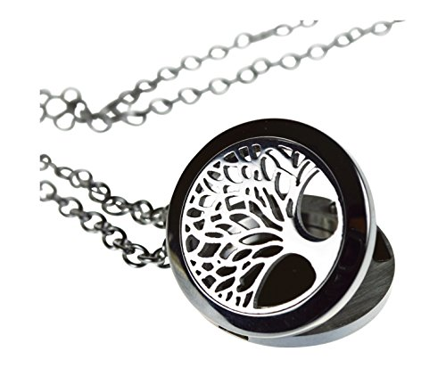 519Tyg0eJLL - Tree Of Life Essential Oil Diffuser Necklace Stainless Steel Locket Pendant with 24″ Chain