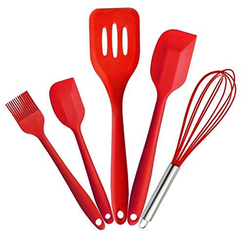 5PCS Silikon Küche Kochutensilien-Set, bestga hygienisch stabiler antihaftbeschichtet Home Backen Kochen Tools mit hitzebeständig Bürste, Schneebesen, große und kleine Spatel, Schlitz Turner-Rot