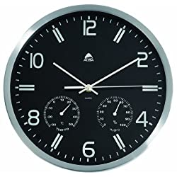 Alba Quartz Weather Wall Clock, Temperature and Hygrometry Functions, Silver Frame, Black Face (HORMET)