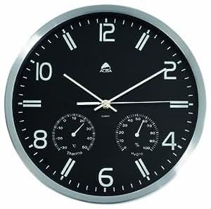 Alba HORMET - Reloj de pared 30 cm con termómetro , color  negro