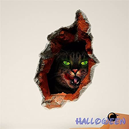 Wall Decals Black Cat Halloween Wall Hole Sticker Wall Decor Gift / .