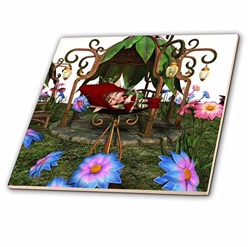 3dRose Spiritual Awakenings Fairies - Sleeping baby fairy in a garden fountain among the flowers - 12 Inch Ceramic Tile (ct_273421_4) by 3dRose