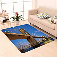 Nalahome Custom carpet rooklyn Bridge at Twilight in New York City East River Modern Metropolis Sunset Image Blue Ivory area rugs for Living Dining Room Bedroom Hallway Office Carpet (36x118)