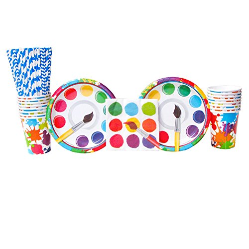 Dessert Art - Art Party Supplies Pack Bundle for 16 Guests: Straws, Dessert Plates, Beverage Napkins, and Cups