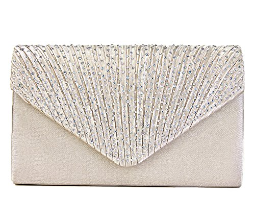 Charming Tailor Clutch Purse Evening Bag Envelope Diamante and Pleated Flap Handbag (Champagne) by Charming Tailor