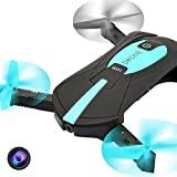 Foldable FPV RC Drone Quadcopter With Live Video And FPV Camera,Upgraded WiFi Real-Time FPV Selfie Pocket Foldable UAV With 2.0MP HD Camera (Upgrade) ,Altitude Hold Mini Helicopter With Phone Control