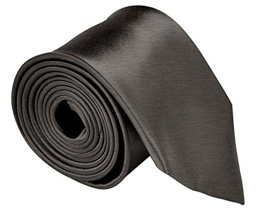 (Neckties For Men 3.5 Microfiber Woven Satin Solid Color Ties - Charcoal)