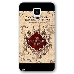 UniqueBox - Customized Personalized Black Frosted Samsung Galaxy Note 4 Case, Harry Potter Samsung Galaxy Note 4 case, Harry Potter Hogwarts Marauders Map Samsung Galaxy Note 4 case, Only fit Samsung Galaxy Note 4 WANGJING JINDA