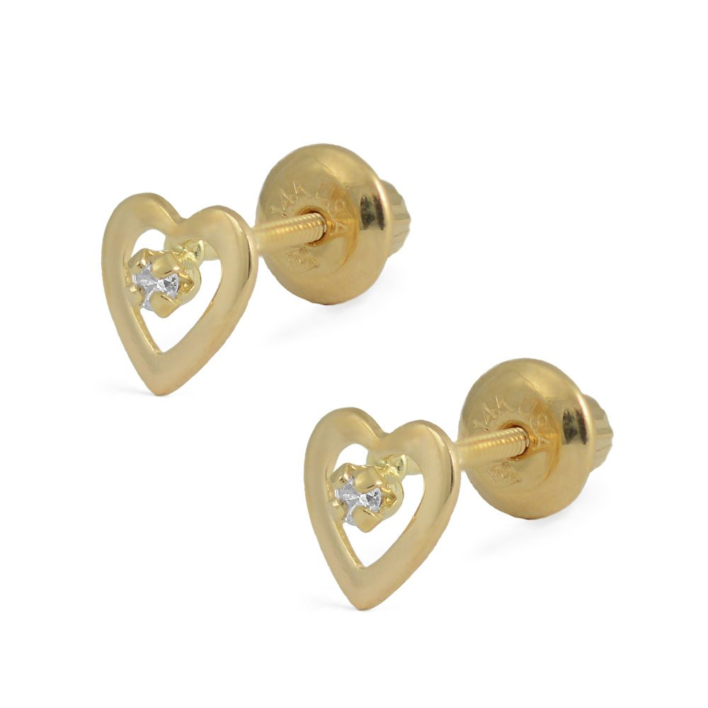 14K Yellow Gold Diamond Heart Screw Back Stud Earrings For Girls