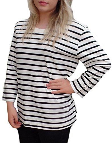 TopsandDresses - Camiseta de manga larga - Manga Larga - para mujer ivory Black striped