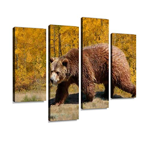 Grizzly Bear Walking Through Meadow with Aspen Trees in Fall Canvas Wall Art Hanging Paintings Modern Artwork Abstract Picture Prints Home Decoration Gift Unique Designed Framed 4 Panel