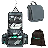 Travel Hanging Toiletry Bag for Women & Men | Ideal to Carry your Travel Essential Toiletries, Cosmetics and Makeup (Shadow Gray)