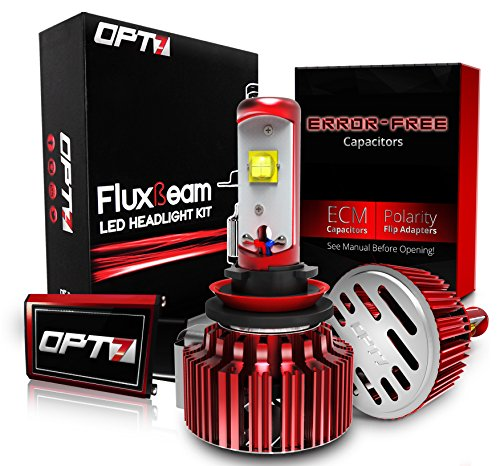 OPT7 Fluxbeam H11 LED Headlight Kit w/ Clear Arc-Beam Bulbs - 60w 7,000Lm 6K Cool White CREE - 2 Yr Warranty