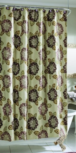 Croscill Home Fashions Portico Shower Curtain, 72 by 72-Inch, Heather - Croscill Jacquard Shower Curtain