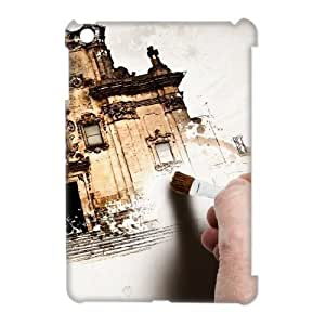 3D Hand Painting Old Building IPad Mini Cases, Ipad Mini Case for Boys Cute Design Cheap Vinceryshop - White by supermalls