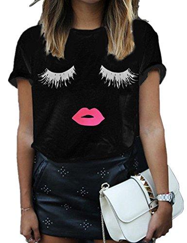 Haola Summer Fashion Women Cute Short Sleeve Printed Tops Casual T Shirt 3XL Black