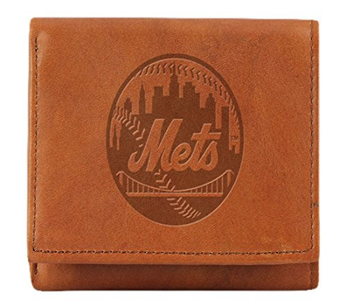 MLB New York Mets Embossed Genuine Cowhide Leather Trifold Wallet