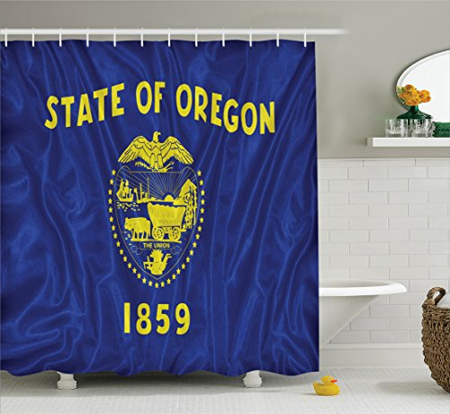 Ambesonne American Decor Collection, The State of Oregon Flag 1959 Two Sided Flag Escutcheon and The State Seal Image Print, Polyester Fabric Bathroom Shower Curtain, 75 Inches Long, Yellow - Interior Escutcheon Set