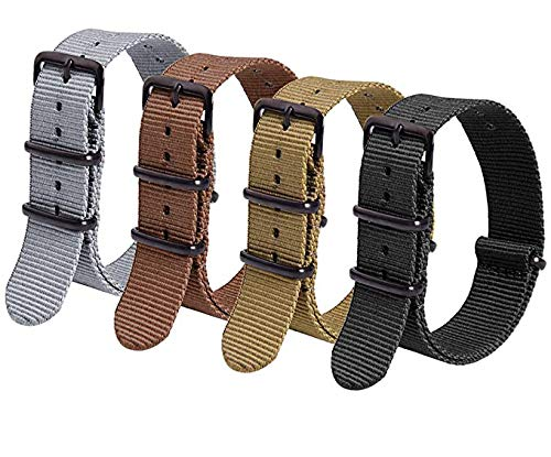 Ritche Nato Strap 16mm 18mm 20mm 22mm Premium Nylon Watch Band Strap With Stainless Steel Buckle (4 Packs)