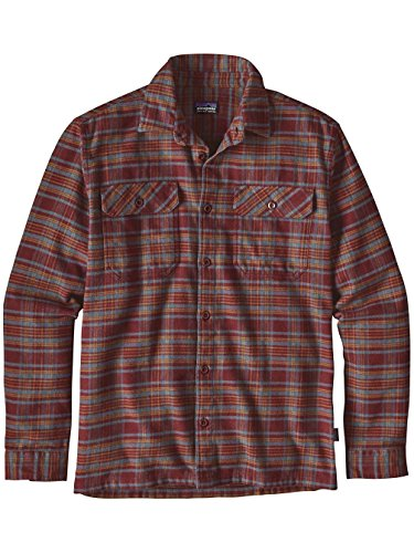 -Sleeved Fjord Flannel Shirt (Medium, Salty Flats: Dark Ruby) (Patagonia Red Shirt)