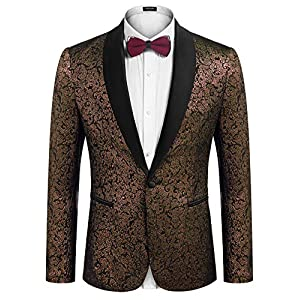 Best Epic Trends 519U-cGWCoL._SS300_ COOFANDY Men's Floral Suit Jacket One Button Stylish Jacquard Dinner Jacket Tuxedo Blazer for Wedding,Party,Prom